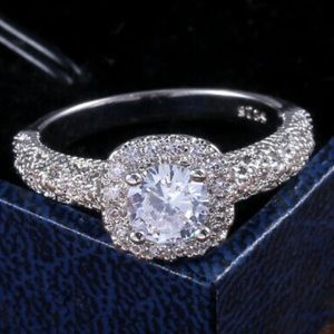 NEW Elegant Stamped 925 Silver Ring Round Cut